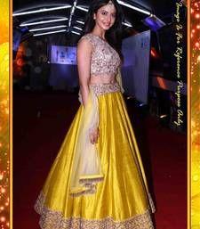 Buy yellow embroidered banglori silk unstitched bridal-lehengas bridal-lehenga online