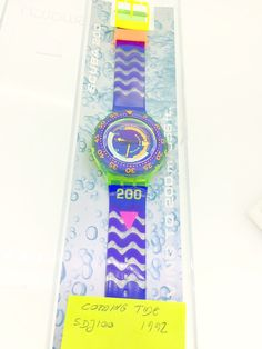Swatch  Coming Tide SDJ100 Scuba divers watch 1992 new unused in original box with papers by KGMDiamonds on Etsy