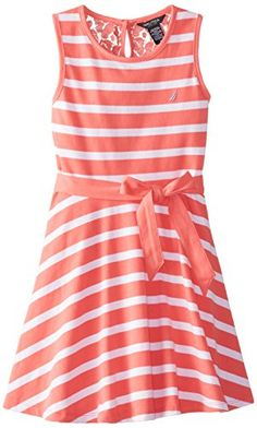 Nautica Big Girls' Jersey Stripe Tank Dress with Lace Back Yoke, Melon, 8 Nautica http://www.amazon.com/dp/B00QH2NQ56/ref=cm_sw_r_pi_dp_1.Uovb16HKV8B