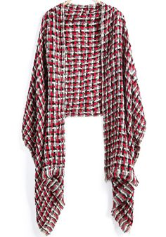 Red Black Plaid Tassel Scarve 11.00