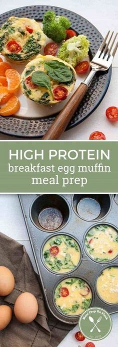 High Protein Breakfast Egg Muffin Meal Prep - This egg muffin recipe is a handy way to take your breakfast on the go. They are filling. paleo breakfast on the go High Protein Breakfast, Breakfast On The Go, Paleo Breakfast, Breakfast Recipes, Breakfast Muffins, Breakfast Ideas, High Protein Meal Prep, Breakfast Protein Smoothie, Baby Breakfast