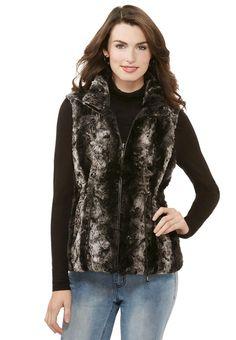 Reversible Faux Fur Vest-Plus Jackets Cato Fashions