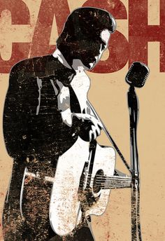 Johnny Cash, Rock and Roll, music, art, illustration, Poster size art print available in multiple sizes.
