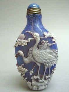 White Overlay Blue Peking Glass 'Crane' Snuff Bottle