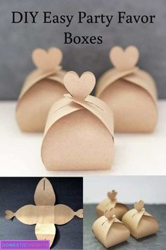 DIY Easy Party Favor Boxes - - wedding favors under easy homemade fall wedding favors how to make a small gift box out of paper, nice cheap favors. Diy Simple, Simple Gifts, Easy Diy, Wedding Favor Boxes, Diy Wedding Favors, Wedding Themes, Wedding Gifts, Wedding Ideas, Wedding Centerpieces