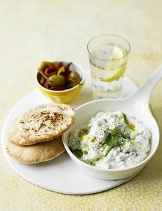 Feta Dip and pita http://www.sainsburysmagazine.co.uk/menus/anjum-anand-s-indian-barbecue/item/creamy-feta-dip