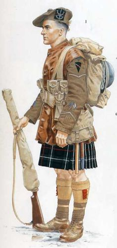 A soldier of the 2nd Battalion, Seaforth Highlanders, in France in 1918.