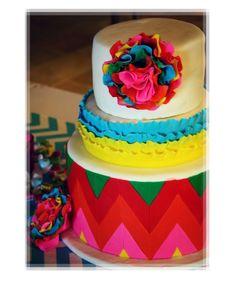 Colorful Chevron Frill Cake Picture