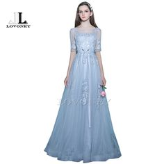 >> Click to Buy << LOVONEY Elegant A-Line Floor-Length Half Sleeves Long Evening Dress with Appliques Lace-Up Open Back Formal Evening Gown KD303 #Affiliate