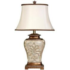 Buy the Delacora Pearled White Direct. Shop for the Delacora Pearled White Magonia Tall Accent Table Lamp with Fabric Shade and save. Metal Table Lamps, White Table Lamp, Lamp Bases, Light Table, White Lamps, Glass Table, Gold Accent Table, Traditional Table Lamps, Magnolia Table
