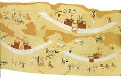 Depiction of the mural from the Hierakonpolis Painted Tomb 100. [Solar Barques with the three arched ram horns at the bow and antelope and opening on the barque between two pylons. A goat or antelope wheel with 5 antelopes. A man wrestling two lion like creatures, a man with a lion by the foot and a amn holding another man by the foot]