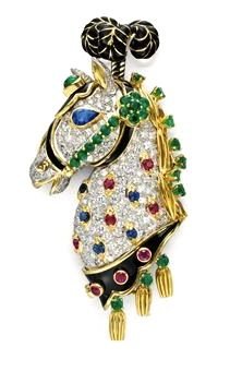 A diamond, multi-gem and enamel brooch, by David Webb. +