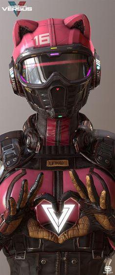 VERSUS, quick update, Gerard Kravchuk - cyberpunk catwoman robotic android concept art character design inspiration ideasParticipant of CGTrader Awards Catwoman, Character Inspiration, Character Art, Futuristic Helmet, Cyberpunk Kunst, Cyberpunk Anime, Android Art, Robot Concept Art, Robot Art