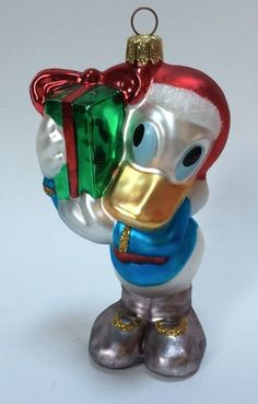 Disney Donald Duck Glass Christmas Tree Ornament Holding Gift Present Figural