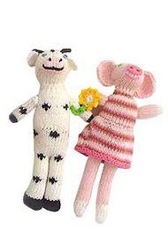 Bla Bla Cow & Pig Rattle Dolls