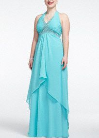 Looking red carpet ready will be as simple as saying 1,2,3,in this long andluxurious prom dress!  Sleeveless bodice features sparkling beaded detail around the v neckline, bust and cross back straps.  Split front with cascading ruffles is soft and elegant.  Sweep train.  Fully lined. Back zip. Imported polyester. Spot clean only.  Also available inmissy sizes as Style 231M32250.
