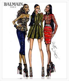 #Hayden Williams Fashion Illustrations # Iman, Rihanna & Naomi Campbell in Balmain for W Mag Sept issue. #'Tribal Trio' by Hayden Williams