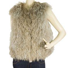 3.1 Phillip Lim Beige Lamb Fur Shearling Vest Sleeveless Jacket Gillet sz 6