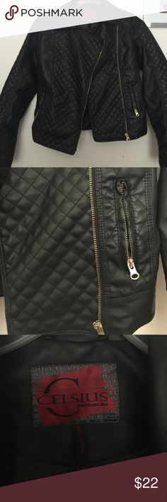 Faux leather jacket Stylish black faux leather jacket. Great with a pair of jeans. Worn once, in perfect shape! Jackets & Coats Utility Jackets