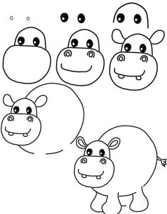 How to draw hippo step by step drawing animals learn how to draw a hippopotamus with Doodle Drawings, Cartoon Drawings, Animal Drawings, Doodle Art, Easy Drawings, Drawing Animals, Hippo Drawing, Drawing Lessons For Kids, Art Lessons