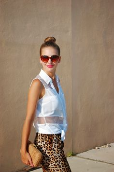 Wild Side // #express organza inset sleeveless blouse, leopard track pants. #casual