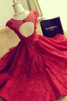 A-Line Crew Cap Sleeves Red Lace Homecoming Dress with Appliques