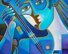 Cubisme Art peinture à l'huile sur toile abstraite oeuvre violoniste bleu style Scoubidou Vera moderne contemporain galerie Picasso