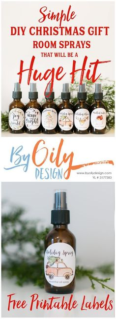 Simple DIY Christmas gift room sprays that will be a hit Check out these adorable DIY gifts room sprays with Essential Oils. The Free printable gift labels.Check out these adorable DIY gifts room sprays with Essential Oils. The Free printable gift labels. Easy Diy Christmas Gifts, Family Christmas Gifts, Teacher Christmas Gifts, Teacher Gifts, Christmas Room, Christmas Decorations, Christmas Ideas, Christmas Girls, Handmade Christmas