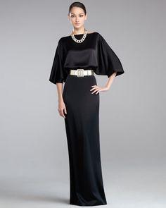 Liquid Satin Bateau-Neck Gown & Wide Metallic Napa Leather Belt - Neiman Marcus ~ St. John