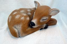 Ceramic Sleeping Fawn by GrapeVineCeramicsGft on Etsy, $20.00
