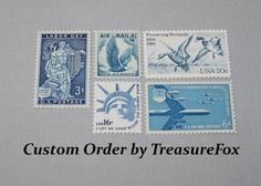Reserved Custom Order for Jen. Unused Vintage US Postage Stamps for mailing wedding invitations by TreasureFox on Etsy
