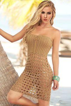 Brown Strapless Crochet Beach Dress
