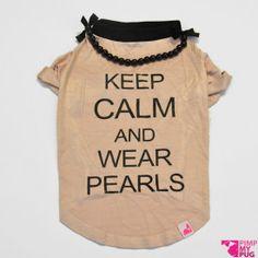 """Tshirt rosa cipria """"Keep calm and wear pearls"""""""