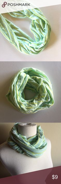 GAP striped infinity scarf • mint green and yellow Cotton and polyester blend infinity scarf from GAP. Mint green and yellow stripes. Great condition! GAP Accessories Scarves & Wraps
