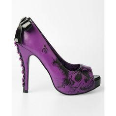 I don't wear heels hardly ever...but these are AWESOME!! Iron Fist American Nightmare Platform Heel Purple/ Black (Vegan) ($50) ❤ liked on Polyvore