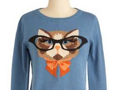 Fashion Friday: Cat in Eyeglasses Sweater