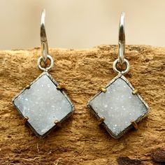 Square white Druzy earrings in silver bezel setting with brass accent prongs with sterling silver hooks