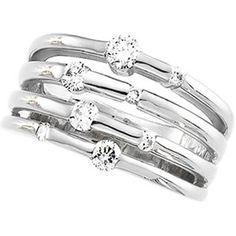 Gold Rings for Women, 14K White Gold 1/2 CT Right Hand Diamond Ring