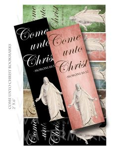 Come Unto Christ - Young Womens Theme 2014 - Digital Collage Sheet - 2 x 6 inch Bookmarks - INSTANT DOWNLOAD