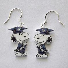 Snoopy Grad Earrings - cute!