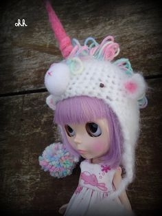 Unicorn Blythe Hat by Sandra Ohh Unicorn Hat, Baby Unicorn, Unicorn Decor, Doll Toys, Baby Dolls, Animal Hats, Barbie, Doll Tutorial, Custom Dolls