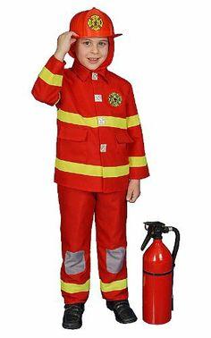 Deluxe Red Fire Fighter Dress up Children's Costume Set Including Helmet Dress Up America. $29.95