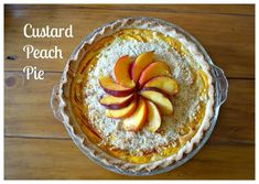 The Best Custard Peach Pie. Uses Greek yogurt for a healthier twist and is not overly sweet for those who are not too keen on dessert Best Peach Pie Recipe, Peach Pie Recipes, Sweet Recipes, Peach Custard Pies, Queso Frito, Biscotti, Dessert Crepes, Dessert Cookbooks, Sweet Pie