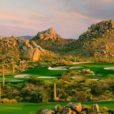 Troon North Golf Club, in Scottsdale, AZ, was opened in 1990 and it's built around some beautiful desert scenery including: foothills, ravines, and granite boulders! #GolfCourseOfTheDay | Rock Bottom Golf #RockBottomGolf