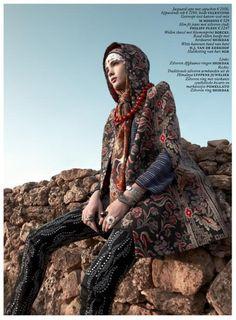mixing prints - Hanaa Ben Abdesslem for Vogue Netherlands January 2014-Portrait Of The East