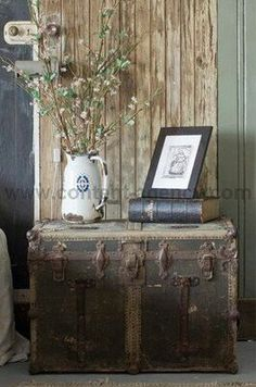 Image result for decorate with antique trunk