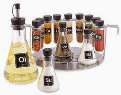 This spice set brings a laboratory into your kitchen