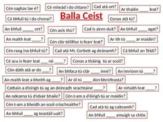 Oral Language Irish game for display on a whiteboard. Child will sit facing the rest of the class while their classmates will ask them a variety of the questions displayed on the board. Can be updated regularly according to new phrases and conversations learned.