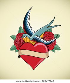 swallow/heart/roses