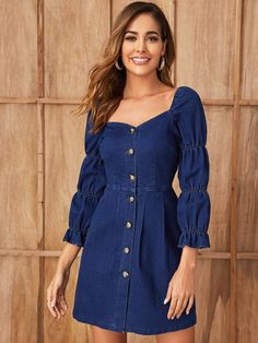 Navy Casual Three Quarter Length Sleeve Denim Plain Fitted Fabric is very stretchy Spring/Fall Denim Dresses, size features are:Bust: ,Length: ,Sleeve Length:Three Quarter Length Sleeve Blackpink Fashion, Denim Fashion, Cute Fashion, Fashion Dresses, Demin Dress Outfit, Dress Outfits, Womens Denim Dress, Denim Dresses, Jeans Frock